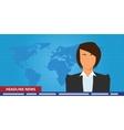 headline or breaking news woman tv reporter vector image