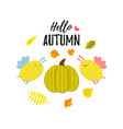 hello autumn greeting banner with cartoon pumpkin vector image vector image