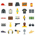 hiphop rap swag music dance icons set flat style vector image vector image