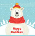 holiday card with polar bear vector image vector image