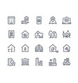 house line icons town houses city buildings and vector image