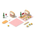 isometric low poly picnic food set vector image
