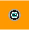 logo with a green eye peeking in the peephole vector image vector image