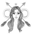 magic night fairy with a moon hand drawn portrait vector image