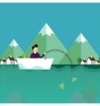 man fishing in boat with mountain scenery behind vector image vector image