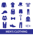 Mens clothing icon set eps10 vector image
