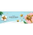 merry christmas and happy new year gold bow ribbon vector image vector image