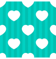 Mint stripes and white hearts seamless pattern vector image vector image