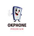 ok phone thump up mascot character logo icon vector image
