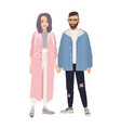 pair of hipster man and woman dressed in vector image vector image