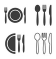 plate fork spoon and knife icons vector image