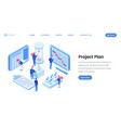 project planning isometric website template vector image vector image