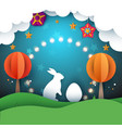 rabbit easter cartoon paper vector image vector image