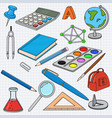 school doodle colored set of stationery tools on vector image