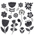 set isolated black flowers part 2 vector image vector image