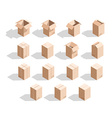 Set of 15 realistic isometric cardboard boxes with vector image vector image