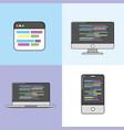 set software code data pragramming vector image vector image