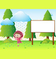 sign template with girl in the rain vector image vector image