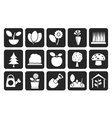Silhouette Different Plants and gardening Icons vector image