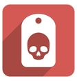 Skull Label Flat Rounded Square Icon with Long vector image vector image