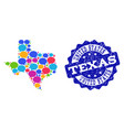 social network map of texas state with talk clouds vector image