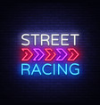 street racing night neon logo racing neon vector image vector image