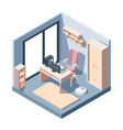 study room isometric concept office modern design vector image