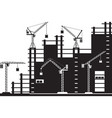 tower cranes on construction site vector image vector image