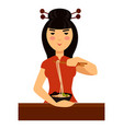typical chinese woman eats traditional meal of vector image