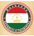 Vintage label cards of Tajikistan flag vector image vector image