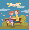 young couple in love sitting together on the bench vector image vector image