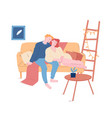 young loving couple hugging sitting on couch at vector image