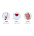 paper cut out logo template set with wine vector image