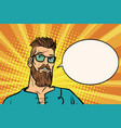 hipster is thinking about something a comic book vector image