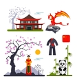 set of China characters with dragon woman vector image