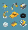 car factory different technic for manufacturing vector image