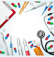 realistic medical instruments background vector image
