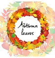 Autumnal round frame Wreath of autumn leaves vector image