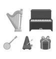 banjo piano harp metronome musical instruments vector image