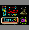 beer pub and good drink neon vector image