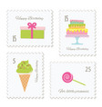 birthday postage stamps set vector image