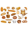 bread bakery sketch and pastry baked food icons vector image vector image