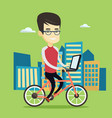 business man riding bicycle in the city vector image vector image