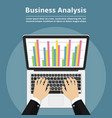 businessman with laptop analyzes data analysis vector image