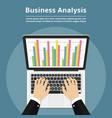 businessman with laptop analyzes data analysis vector image