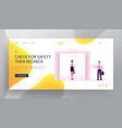 businesswoman stand in lift website landing page vector image vector image
