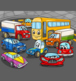 car vehicles cartoon characters group vector image vector image
