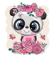 cartoon panda with flowers on a white background vector image vector image