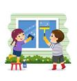 cartoon siblings helping to clean window vector image vector image