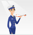 cheerful airline pilot with the model of airplane vector image vector image